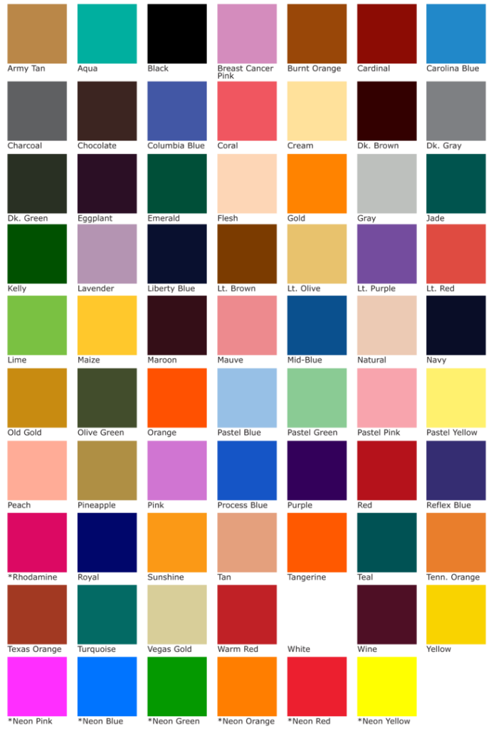 transfer magic color chart